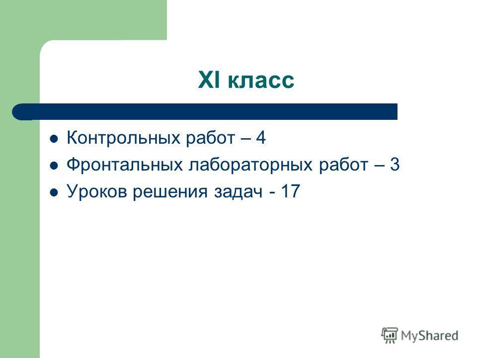XI класс Контрольных работ – 4 Фронтальных лабораторных работ – 3 Уроков решения задач - 17