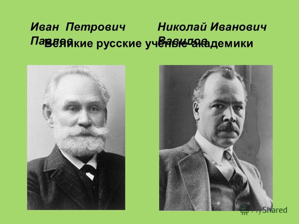 Великие русские учёные-академики Иван Петрович Павлов Николай Иванович Вавилов