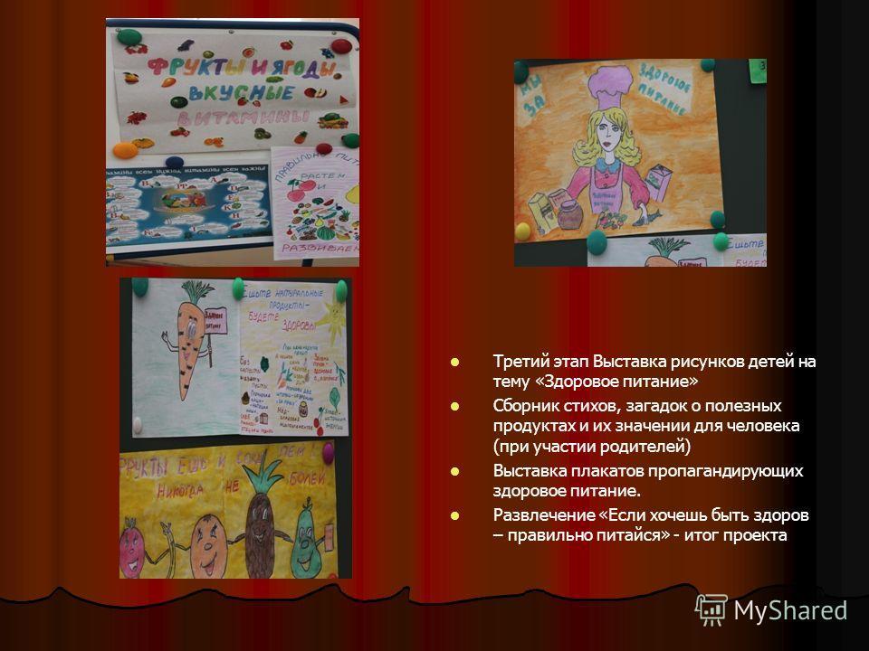 Третий этап Выставка рисунков детей на тему «Здоровое питание» Сборник стихов, загадок о полезных продуктах и их значении для человека (при участии родителей) Выставка плакатов пропагандирующих здоровое питание. Развлечение «Если хочешь быть здоров –
