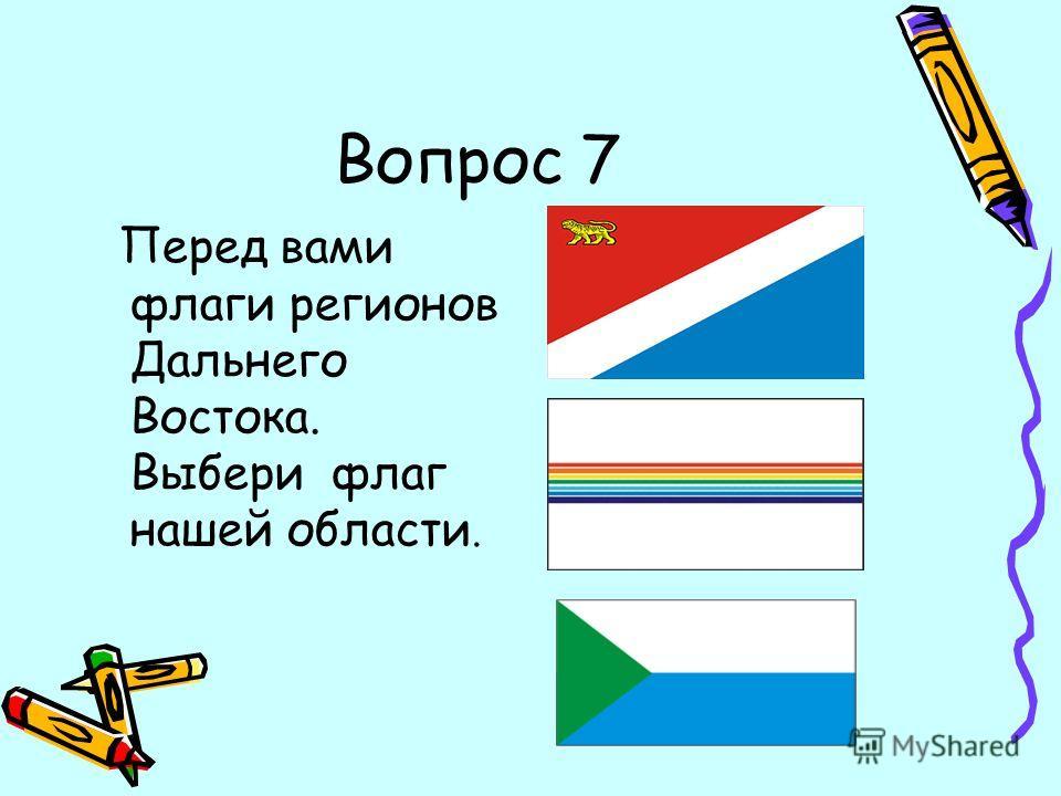 Вопрос 7 Перед вами флаги регионов Дальнего Востока. Выбери флаг нашей области.