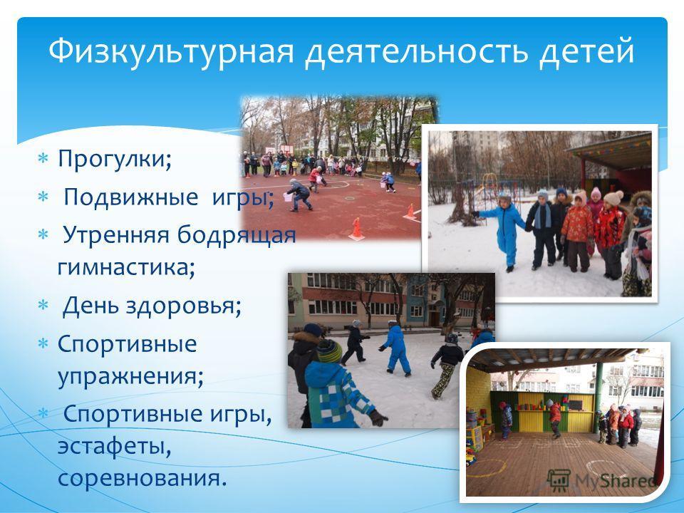 Физкультурная деятельность детей Прогулки; Подвижные игры; Утренняя бодрящая гимнастика; День здоровья; Спортивные упражнения; Спортивные игры, эстафеты, соревнования.