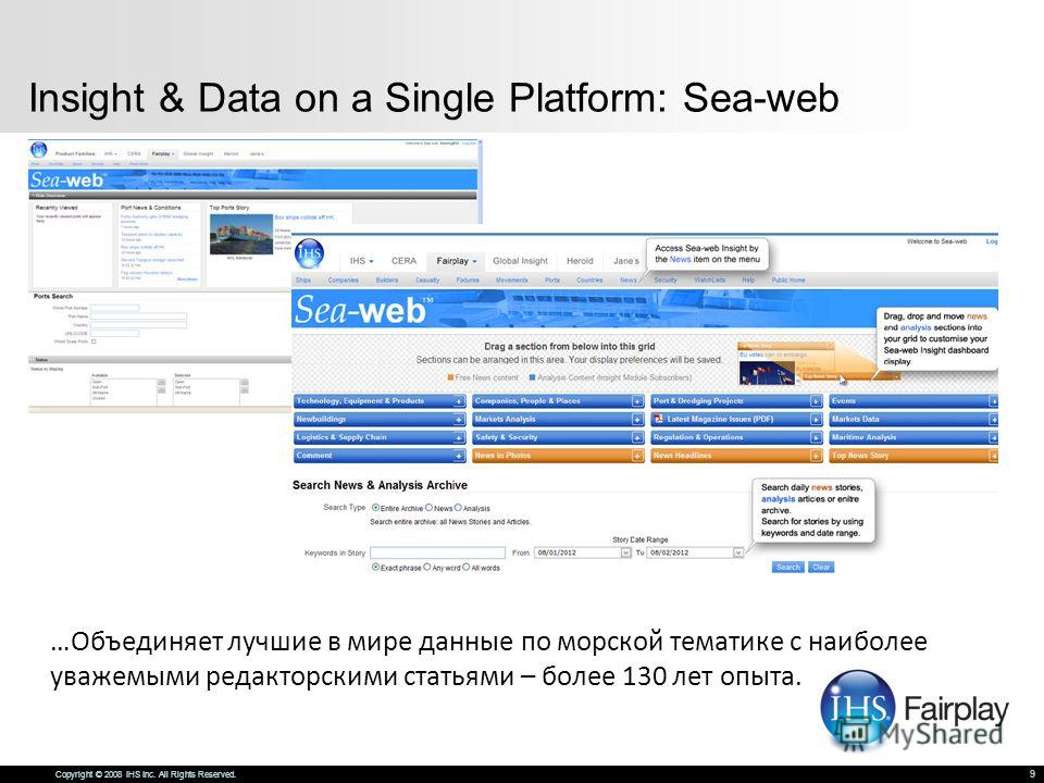 Copyright © 2008 IHS Inc. All Rights Reserved. 9 Insight & Data on a Single Platform: Sea-web …Объединяет лучшие в мире данные по морской тематике с наиболее уважаемыми редакторскими статьями – более 130 лет опыта.