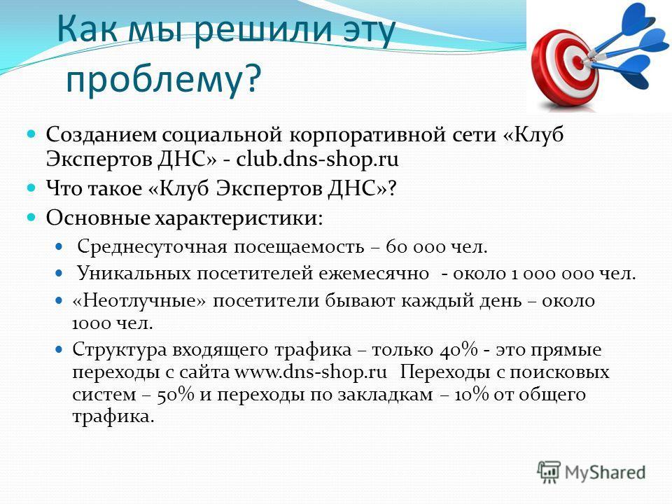 Как мы решили эту проблему? Созданием социальной корпоративной сети «Клуб Экспертов ДНС» - club.dns-shop.ru Что такое «Клуб Экспертов ДНС»? Основные характеристики: Среднесуточная посещаемость – 60 000 чел. Уникальных посетителей ежемесячно - около 1