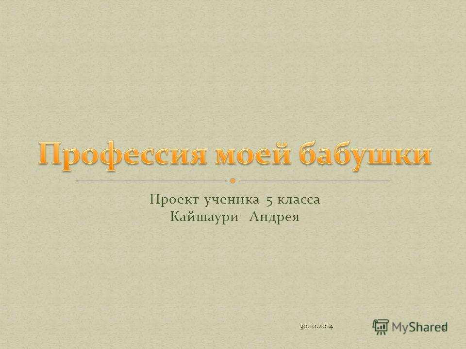 Проект ученика 5 класса Кайшаури Андрея 1 30.10.2014