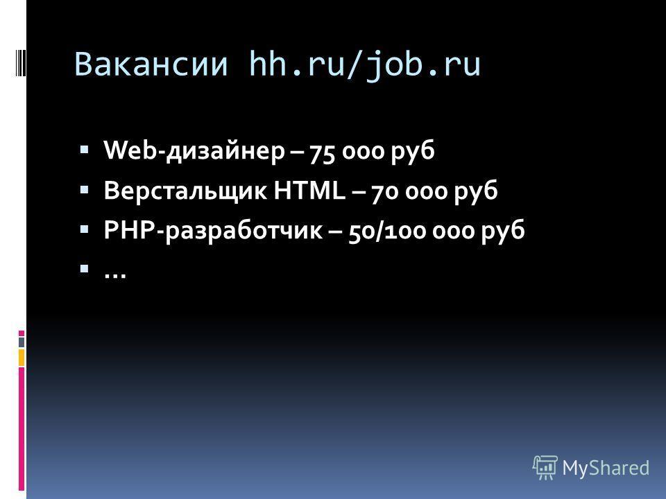 Вакансии hh.ru/job.ru Web-дизайнер – 75 000 руб Верстальщик HTML – 70 000 руб PHP-разработчик – 50/100 000 руб …