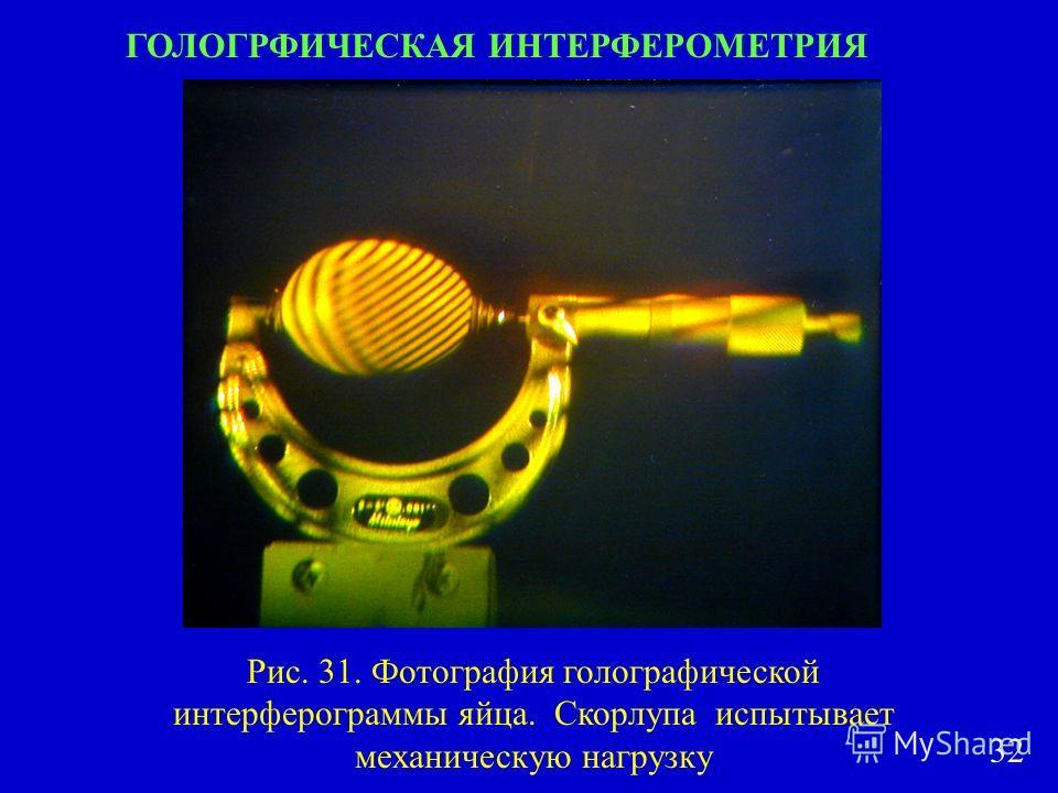 ГОЛОГРФИЧЕСКАЯ ИНТЕРФЕРОМЕТРИЯ Рис. 31. Фотография голографической интерферограммы яйца. Скорлупа испытывает механическую нагрузку 32
