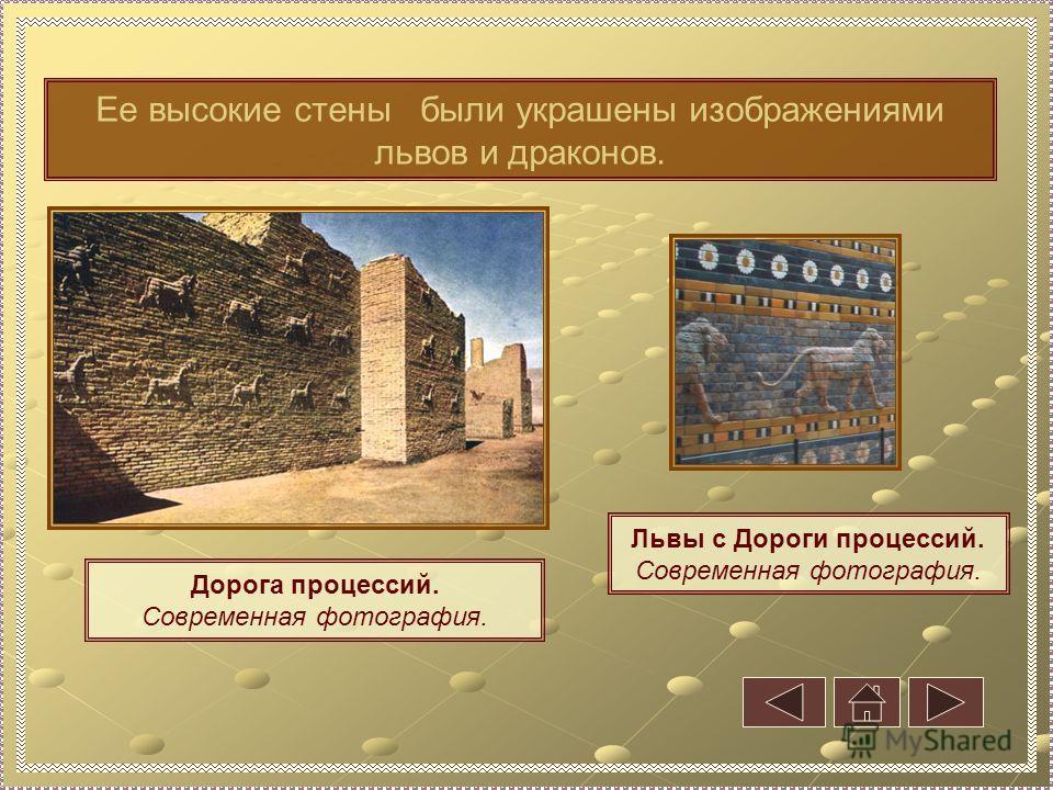 Дорога процессий. Современная фотография. Ее высокие стены были украшены изображениями львов и драконов. Львы с Дороги процессий. Современная фотография.