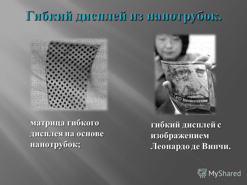 матрица гибкого дисплея на основе нанотрубок ; матрица гибкого дисплея на основе нанотрубок ; гибкий дисплей с изображением Леонардо де Винчи. гибкий дисплей с изображением Леонардо де Винчи.