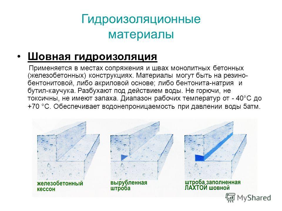 Гидроизоляционные материалы Шовная гидроизоляция Применяется в местах сопряжения и швах монолитных бетонных (железобетонных) конструкциях. Материалы могут быть на резино- бентонитовой, либо акриловой основе; либо бентонита-натрия и бутил-каучука. Раз