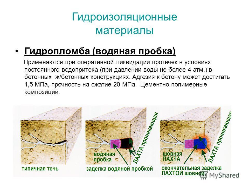 Гидроизоляционные материалы Гидропломба (водяная пробка) Применяются при оперативной ликвидации протечек в условиях постоянного водопритока (при давлении воды не более 4 атм.) в бетонных ж/бетонных конструкциях. Адгезия к бетону может достигать 1,5 М