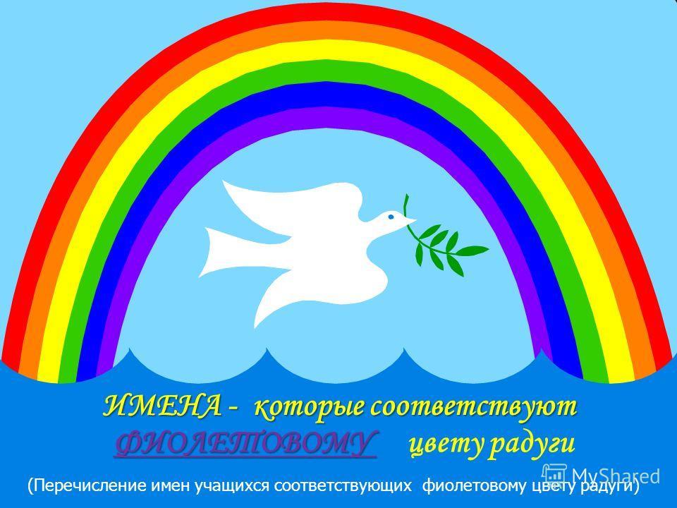 ИМЕНА - которые соответствуют ФИОЛЕТОВОМУ ФИОЛЕТОВОМУ цвету радуги (Перечисление имен учащихся соответствующих фиолетовому цвету радуги) (Можно вставить фотографии обучающихся соответствующих этому цвету радуги)