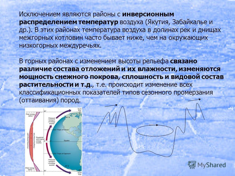 Исключением являются районы с инверсионным распределением температур воздуха (Якутия, Забайкалье и др.). В этих районах температура воздуха в долинах рек и днищах межгорных котловин часто бывает ниже, чем на окружающих низкогорных междуречьях. В горн