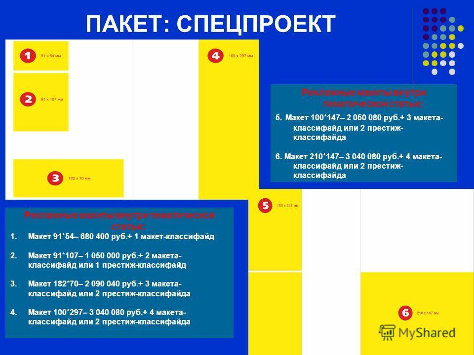 ПАКЕТ: СПЕЦПРОЕКТ Рекламные макеты внутри тематической статьи: 1. Макет 91*54– 680 400 руб.+ 1 макет-классифайд 2. Макет 91*107– 1 050 000 руб.+ 2 макета- классифайд или 1 престиж-классифайд 3. Макет 182*70– 2 090 040 руб.+ 3 макета- классифайд или 2