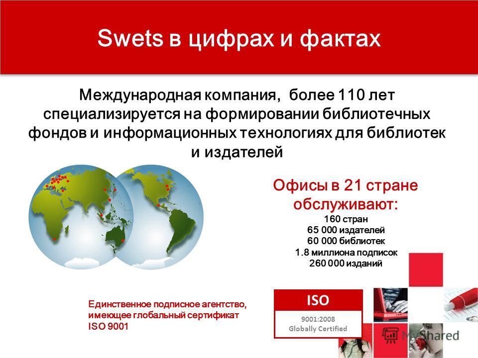 Международная компания, более 110 лет специализируется на формировании библиотечных фондов и информационных технологиях для библиотек и издателей Офисы в 21 стране обслуживают: 160 стран 65 000 издателей 60 000 библиотек 1.8 миллиона подписок 260 000