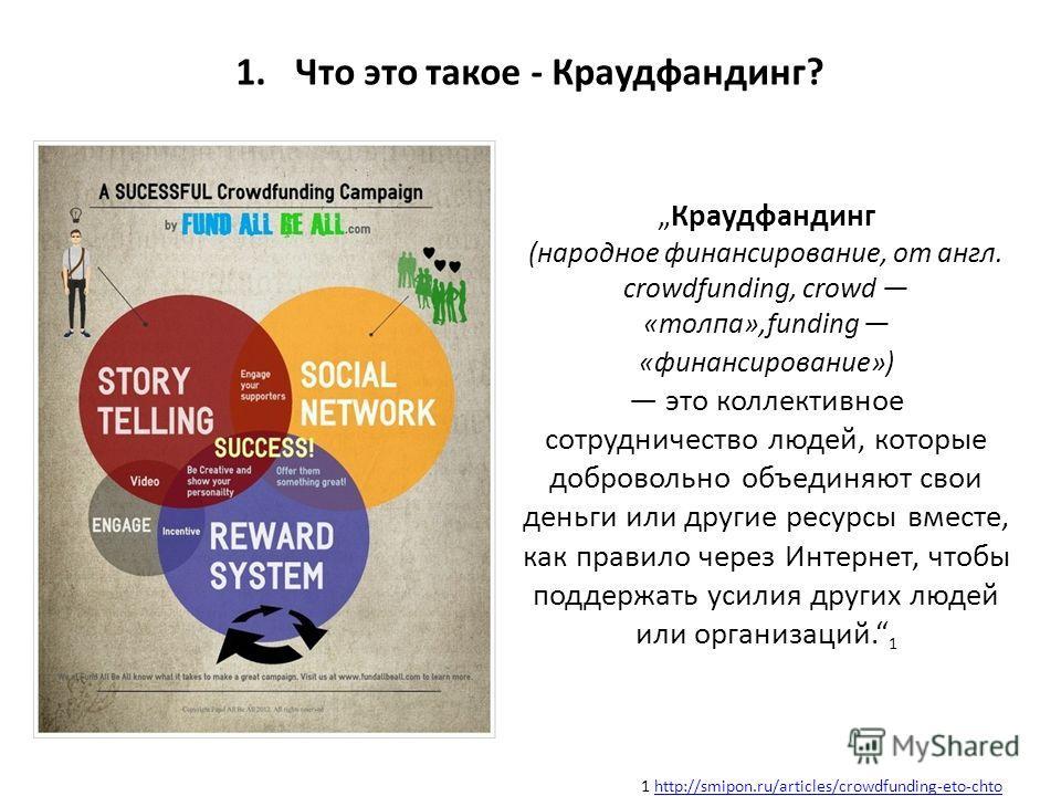 1. Что это такое - Краудфандинг? Краудфандинг (народное финансирование, от англ. crowdfunding, crowd «толпа»,funding «финансирование») это коллективное сотрудничество людей, которые добровольно объединяют свои деньги или другие ресурсы вместе, как пр