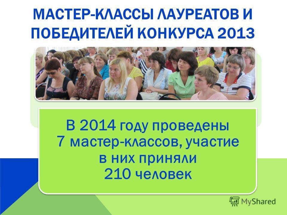 МАСТЕР-КЛАССЫ ЛАУРЕАТОВ И ПОБЕДИТЕЛЕЙ КОНКУРСА 2013 В 2014 году проведены 7 мастер-классов, участие в них приняли 210 человек