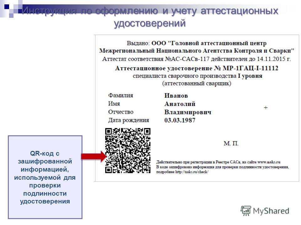 Инструкция по оформлению и учету аттестационных удостоверений QR-код с зашифрованной информацией, используемой для проверки подлинности удостоверения