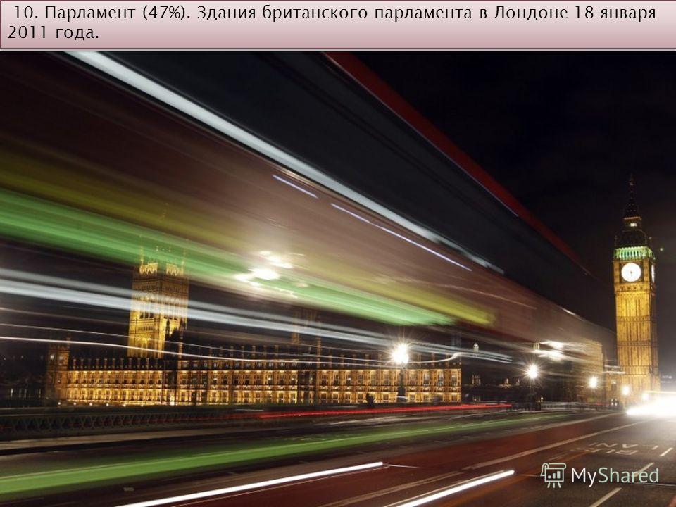 10. Парламент (47%). Здания британского парламента в Лондоне 18 января 2011 года.