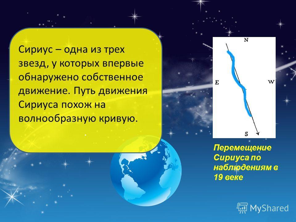 Сириус – одна из трех звезд, у которых впервые обнаружено собственное движение. Путь движения Сириуса похож на волнообразную кривую.. Перемещение Сириуса по наблюдениям в 19 веке