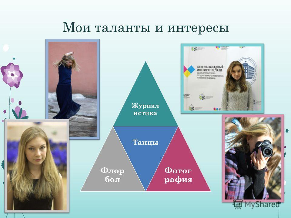 Мои таланты и интересы Журнал истика Флор бол Танцы Фотог рафия