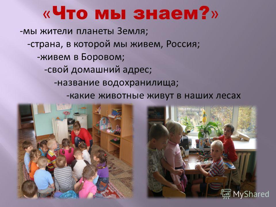 « Что мы знаем? » -мы жители планеты Земля; -страна, в которой мы живем, Россия; -живем в Боровом; -свой домашний адрес; -название водохранилища; -какие животные живут в наших лесах