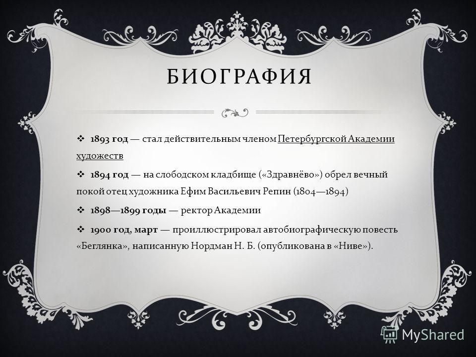 1893 год стал действительным членом Петербургской Академии художеств 1894 год на слободском кладбище (« Здравнёво ») обрел вечный покой отец художника Ефим Васильевич Репин (18041894) 18981899 годы ректор Академии 1900 год, март проиллюстрировал авто