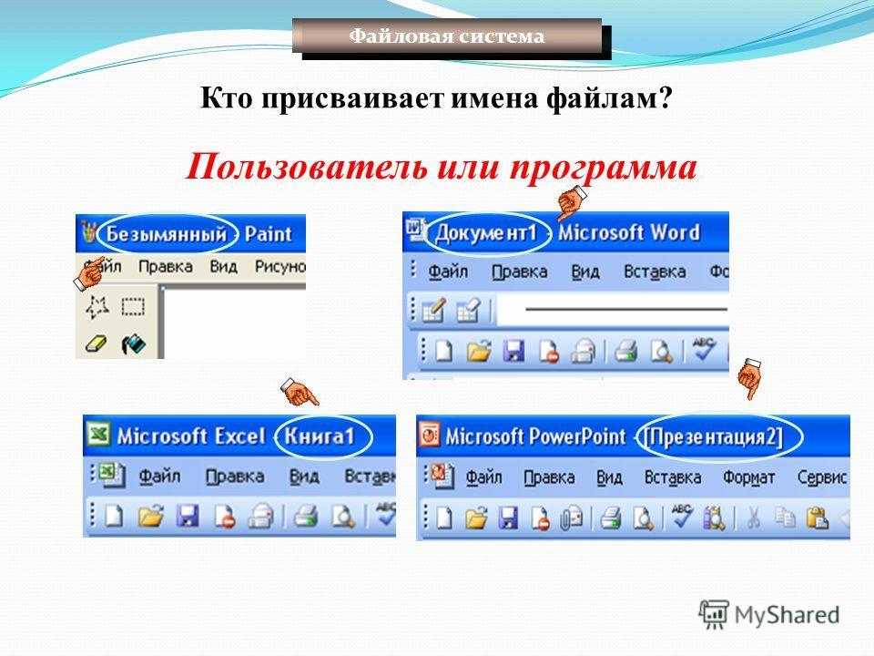 Кто присваивает имена файлам? Пользователь или программа. Файловая система