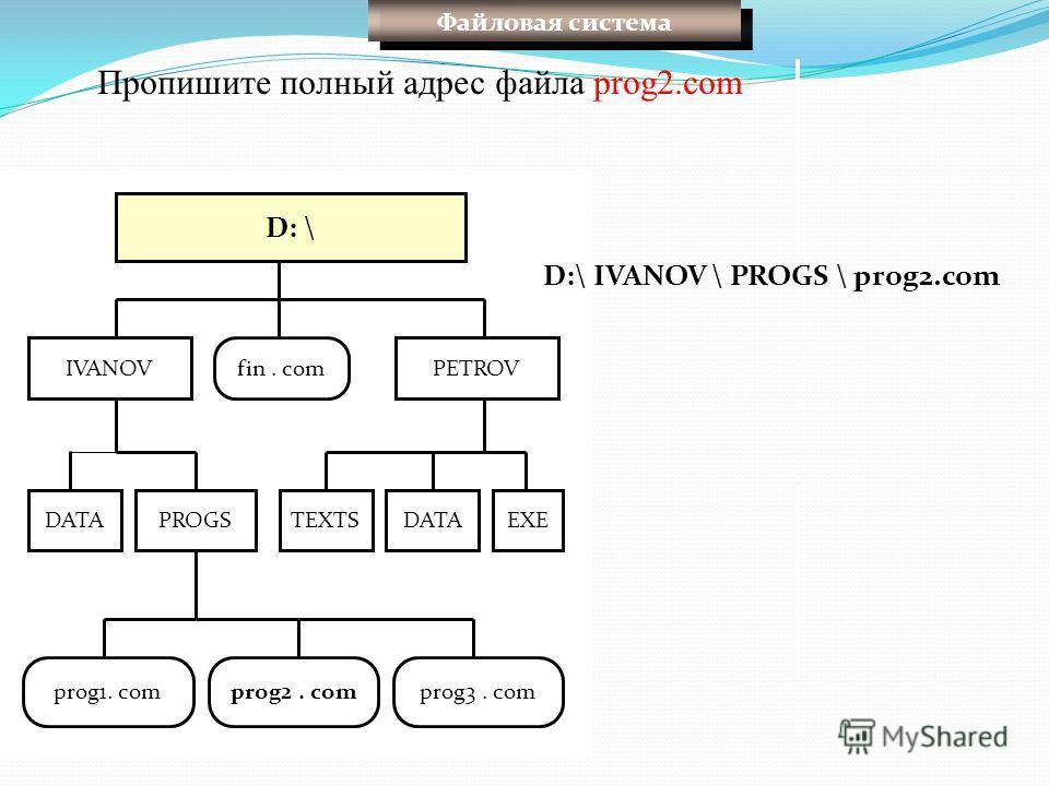 D: \ fin. comPETROVIVANOV DATA EXETEXTS prog1. comprog2. comprog3. com PROGS Пропишите полный адрес файла prog2. com D:\ IVANOV \ PROGS \ prog2. com Файловая система