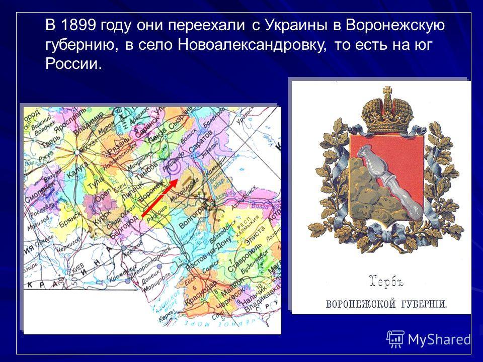 В 1899 году они переехали с Украины в Воронежскую губернию, в село Новоалександровку, то есть на юг России.