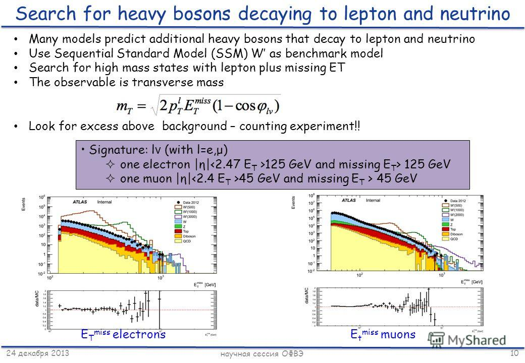 24 декабря 2013 научная сессия ОФВЭ 10 Search for heavy bosons decaying to lepton and neutrino Many models predict additional heavy bosons that decay to lepton and neutrino Use Sequential Standard Model (SSM) W as benchmark model Search for high mass