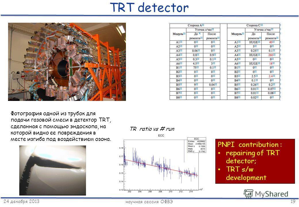 24 декабря 2013 научная сессия ОФВЭ 19 TRT detector Фотография одной из трубок для подачи газовой смеси в детектор TRT, сделанная с помощью эндоскопа, на которой видно ее повреждения в месте изгиба под воздействием озона. TR ratio vs # run PNPI contr