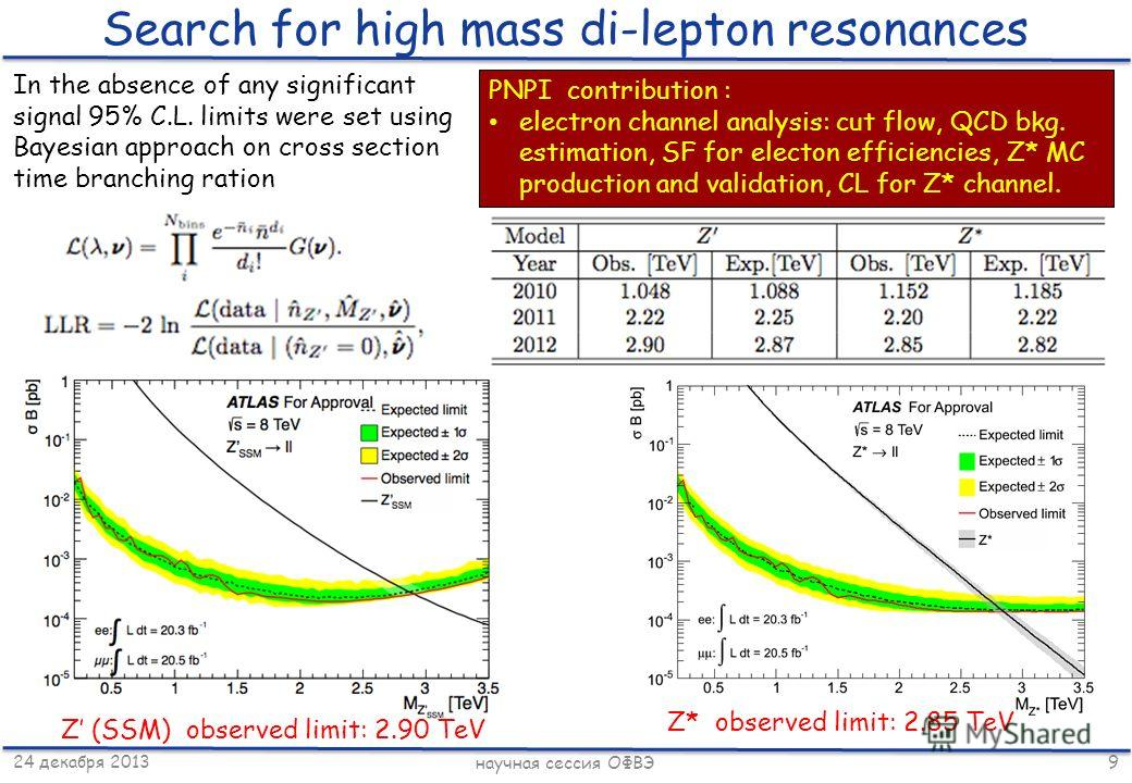 24 декабря 2013 научная сессия ОФВЭ 9 Search for high mass di-lepton resonances In the absence of any significant signal 95% C.L. limits were set using Bayesian approach on cross section time branching ration Z (SSM) observed limit: 2.90 TeV Z* obser