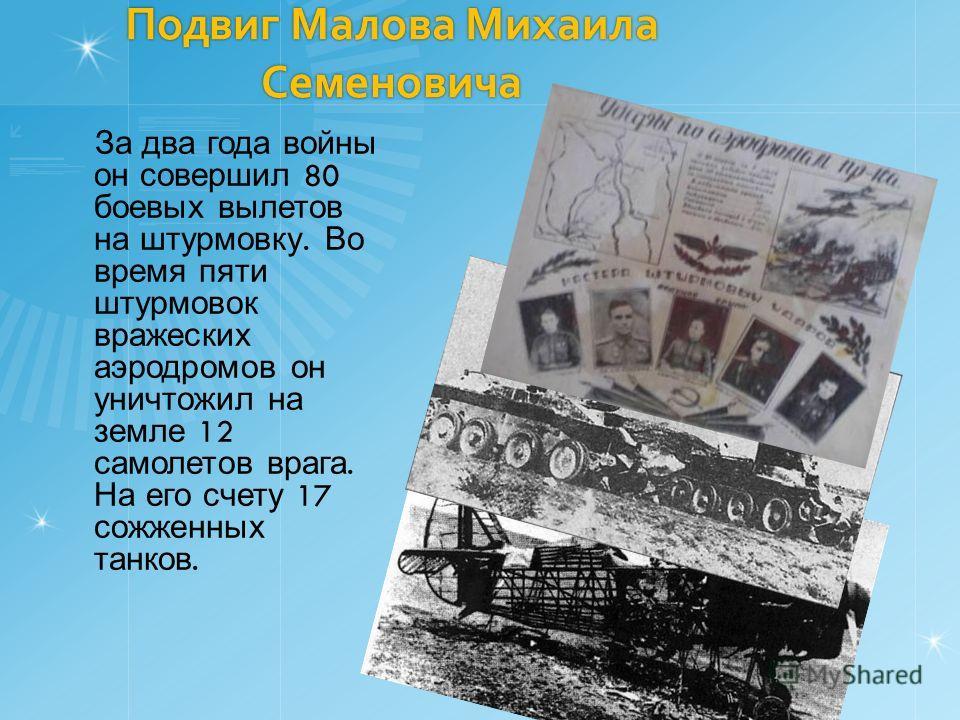 Подвиг Малова Михаила Семеновича За два года войны он совершил 80 боевых вылетов на штурмовку. Во время пяти штурмовок вражеских аэродромов он уничтожил на земле 12 самолетов врага. На его счету 17 сожженных танков.