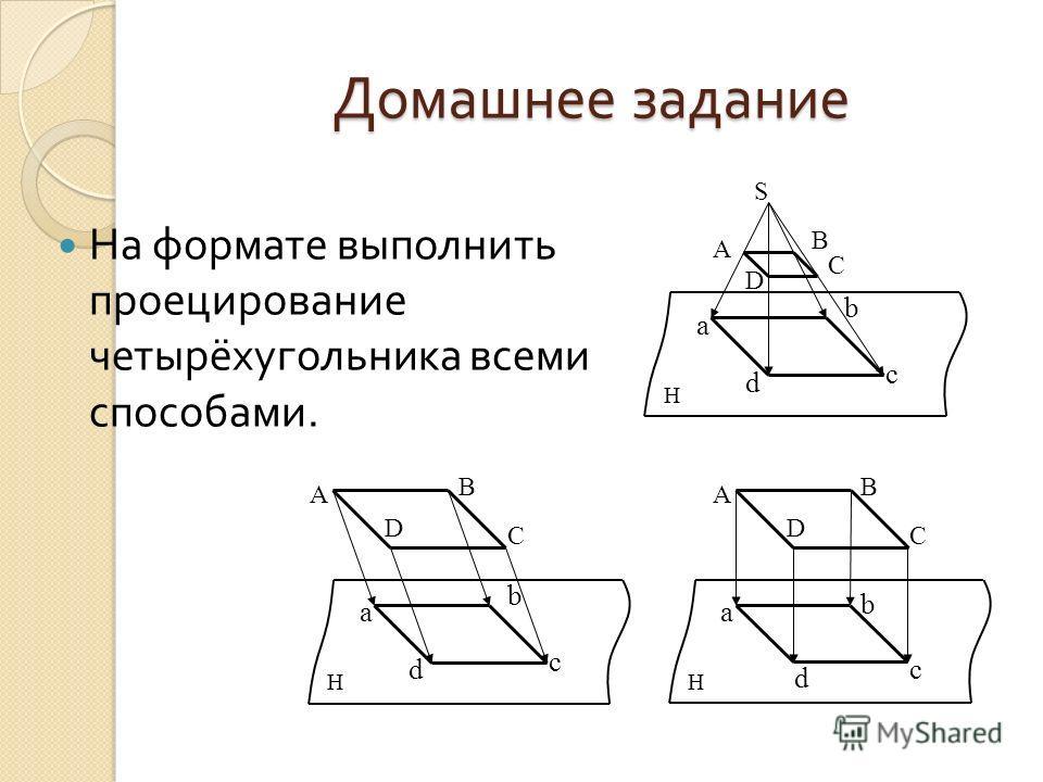 Домашнее задание На формате выполнить проецирование четырёхугольника всеми способами. S а d b c A B C D H а d b c A B C D H а d b c A B C D H