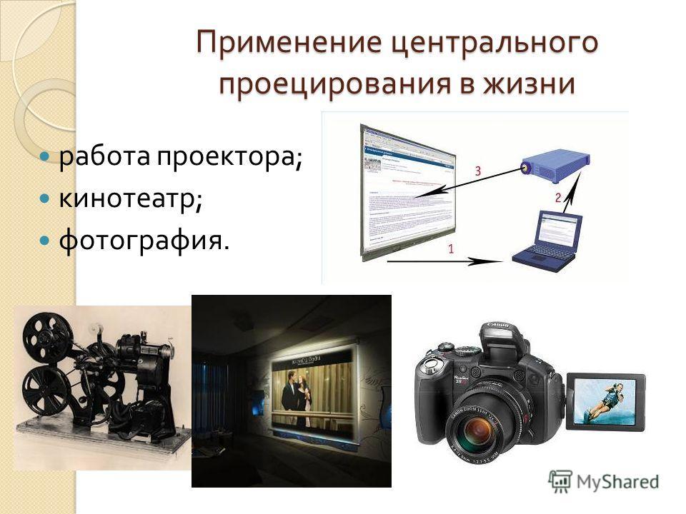 Применение центрального проецирования в жизни работа проектора ; кинотеатр ; фотография.