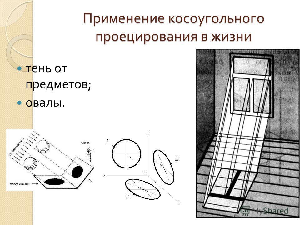 Применение косоугольного проецирования в жизни тень от предметов ; овалы.