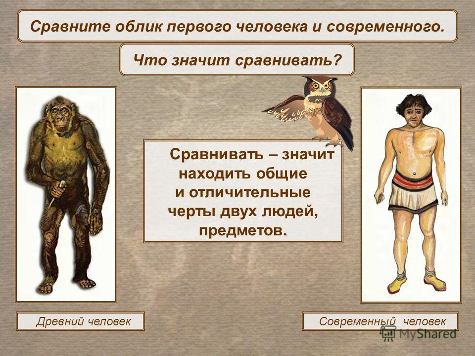 Древний человек Современный человек. Сравнивать – значит находить общие и отличительные черты двух людей, предметов. Сравните облик первого человека и современного. Что значит сравнивать?