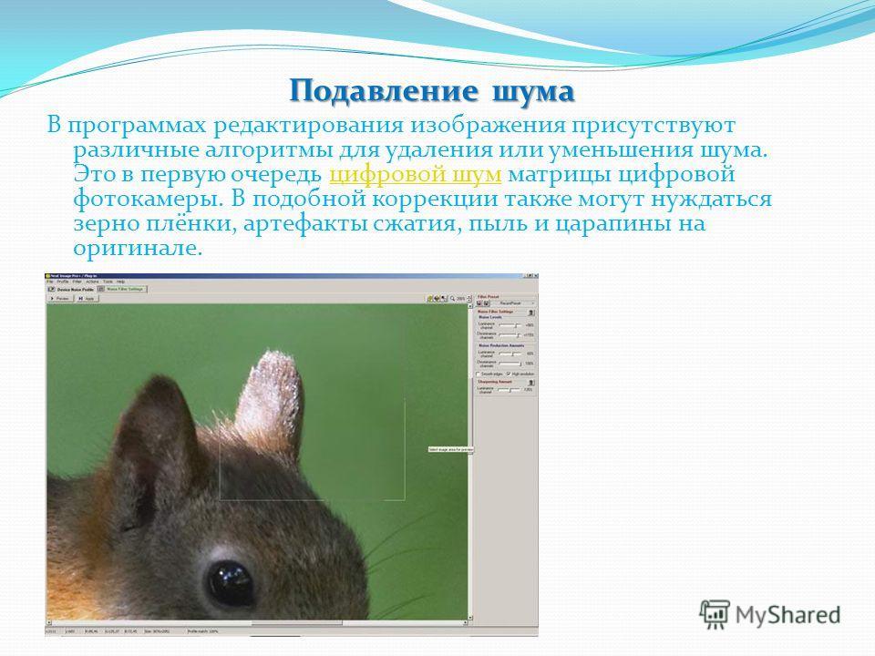 Подавление шума В программах редактирования изображения присутствуют различные алгоритмы для удаления или уменьшения шума. Это в первую очередь цифровой шум матрицы цифровой фотокамеры. В подобной коррекции также могут нуждатися зерно плёнки, артефак