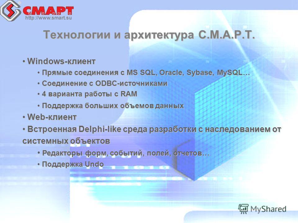 http://www.smart.su Технологии и архитектура С.М.А.Р.Т. Windows-клиент Windows-клиент Прямые соединения с MS SQL, Oracle, Sybase, MySQL… Прямые соединения с MS SQL, Oracle, Sybase, MySQL… Соединение с ODBC-источниками Соединение с ODBC-источниками 4