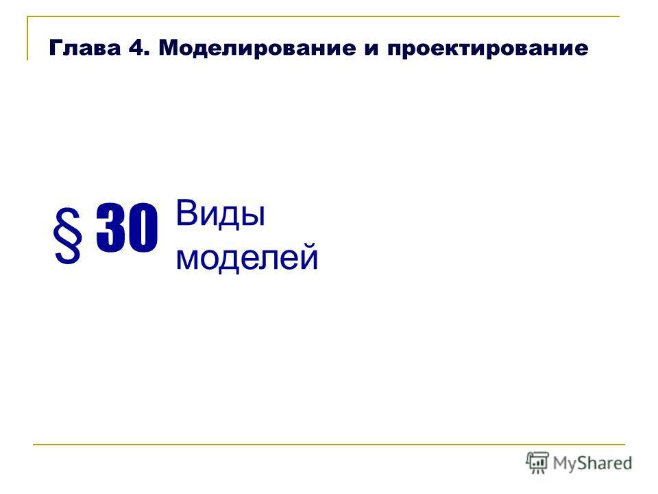 § 30 Виды моделей Глава 4. Моделирование и проектирование