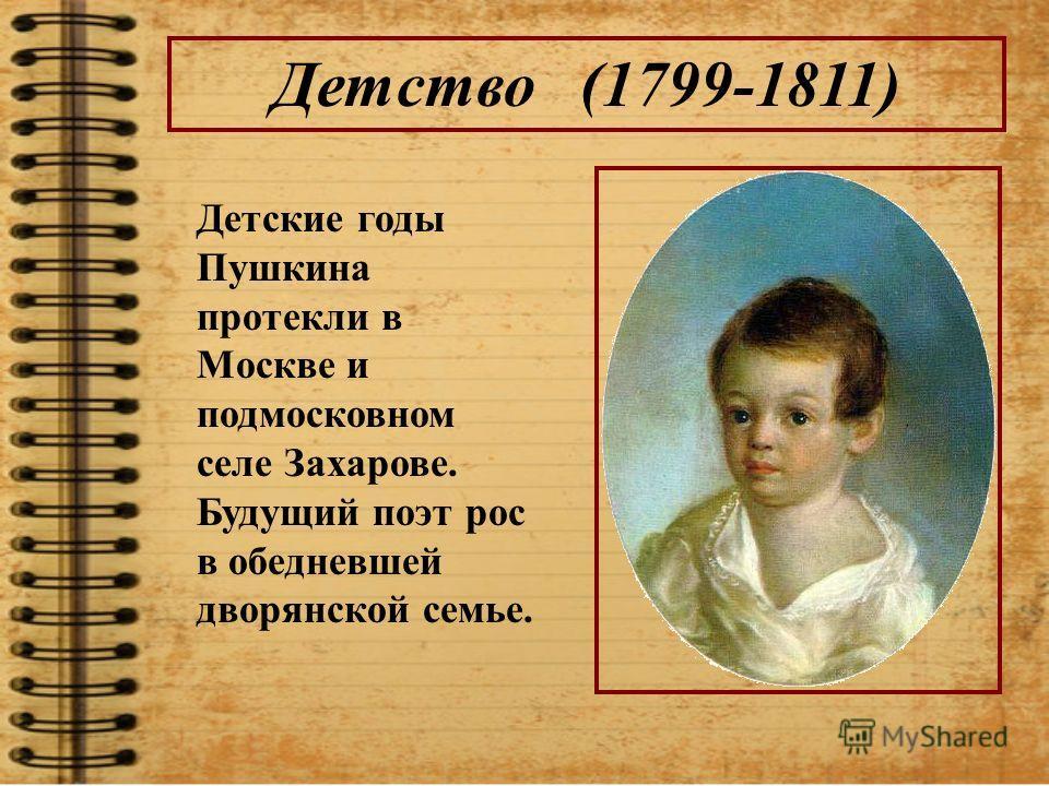 Детство (1799-1811) Детские годы Пушкина протекли в Москве и подмосковном селе Захарове. Будущий поэт рос в обедневшей дворянской семье.