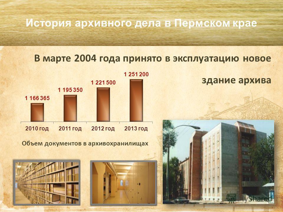 В марте 2004 года принято в эксплуатацию новое здание архива История архивного дела в Пермском крае Объем документов в архивохранилищах
