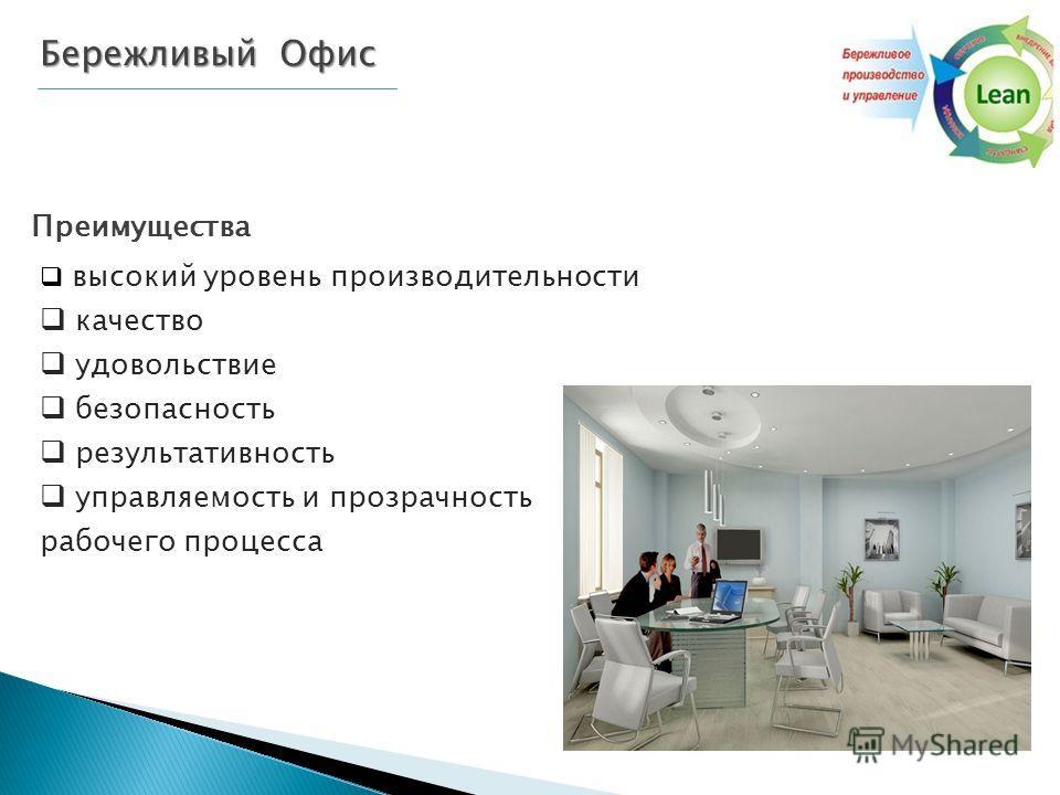 Бережливый Офис Преимущества высокий уровень производительности качество удовольствие безопасность результативность управляемость и прозрачность рабочего процесса