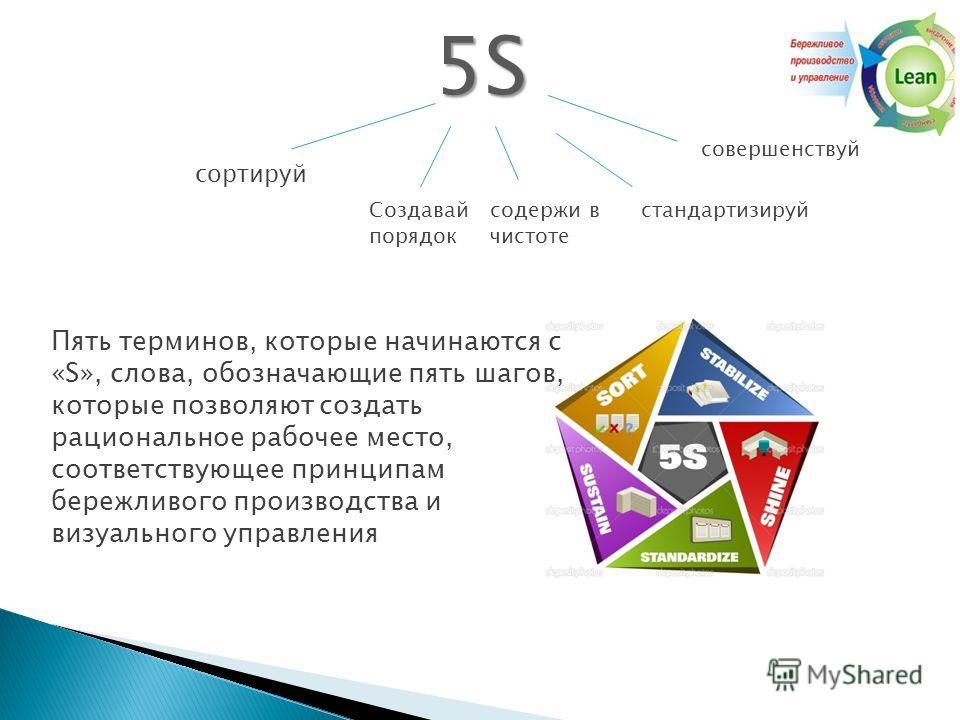 5S5S5S5S сортируй содержи в чистоте Создавай порядок стандартизируй совершенствуй Пять терминов, которые начинаются с «S», слова, обозначающие пять шагов, которые позволяют создать рациональное рабочее место, соответствующее принципам бережливого про