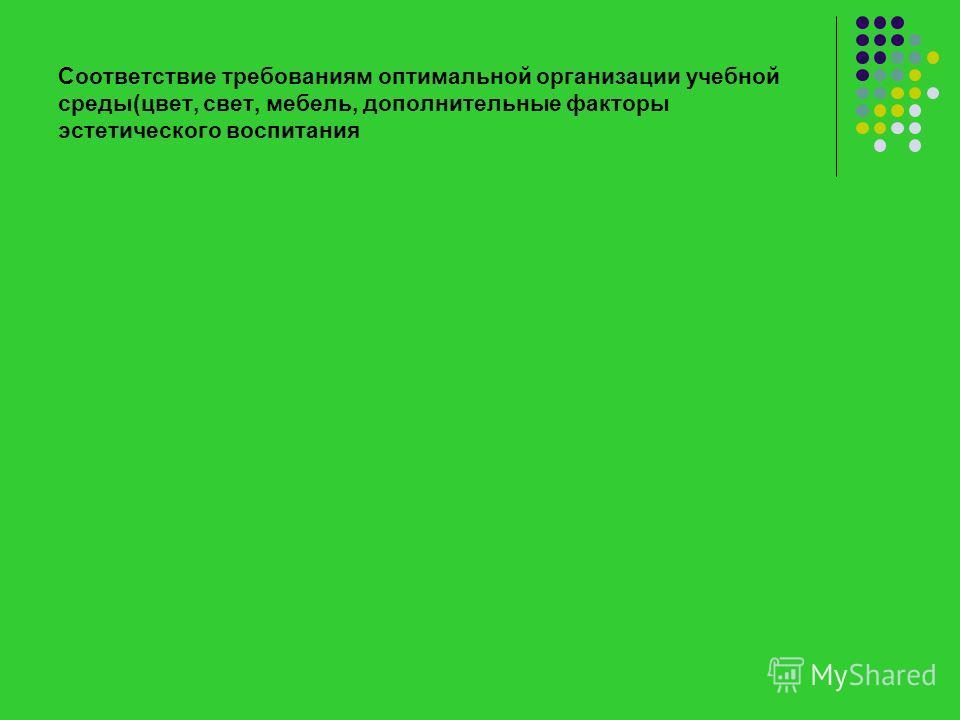 Соответствие требованиям оптимальной организации учебной среды(цвет, свет, мебель, дополнительные факторы эстетического воспитания