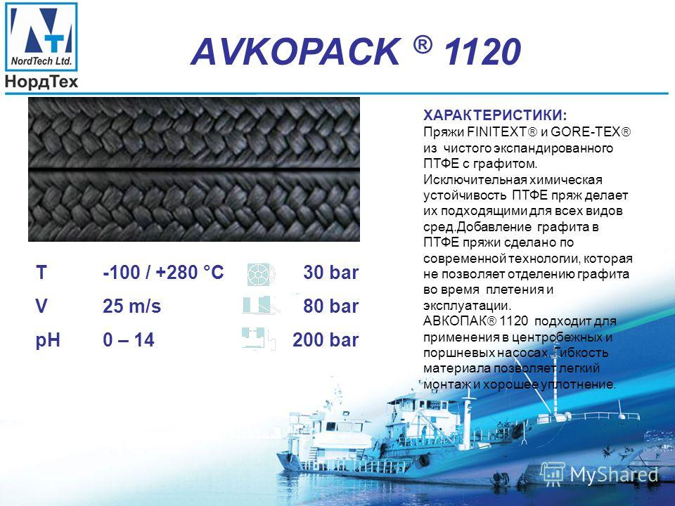 АVKOPACK ® 1101 ХАРАКТЕРИСТИКИ: Пряжи FINITEXТ и GORE-TEX из чистого экспандированного ПТФЕ. Исключительная химическая устойчивость ПТФЕ пряж делает их подходящими для всех видов сред. АВКОПАК 1101 подходит для применения в центробежных и поршневых н