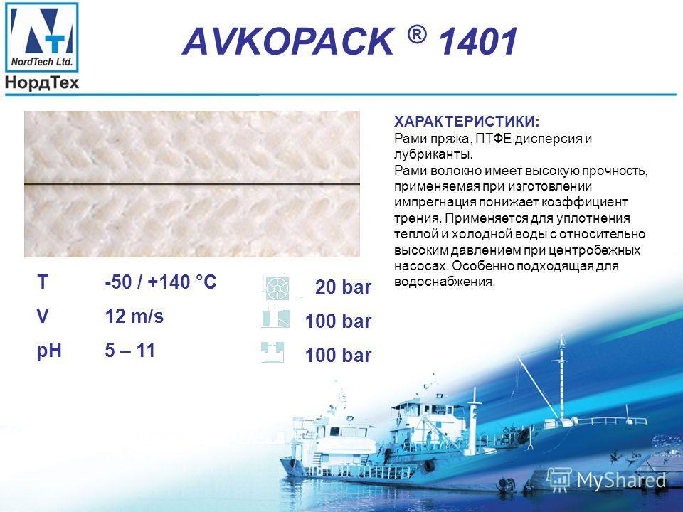 АVKOPACK ® 1400 T -50 / +140 °C V 12 m/s pH 5 – 11 25 bar 40 bar ХАРАКТЕРИСТИКИ: Хлопчатобумажная пряжа, ПТФЕ дисперсия и лубриканты. Хлопчатобумажная пряжа – это природный продукт, исключительно подходящий для работы при низких рабочих условиях, где