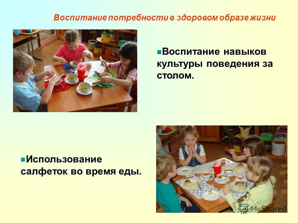 Воспитание навыков культуры поведения за столом. Использование салфеток во время еды.