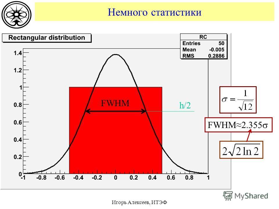Немного статистики FWHM h/2 FWHM2.355