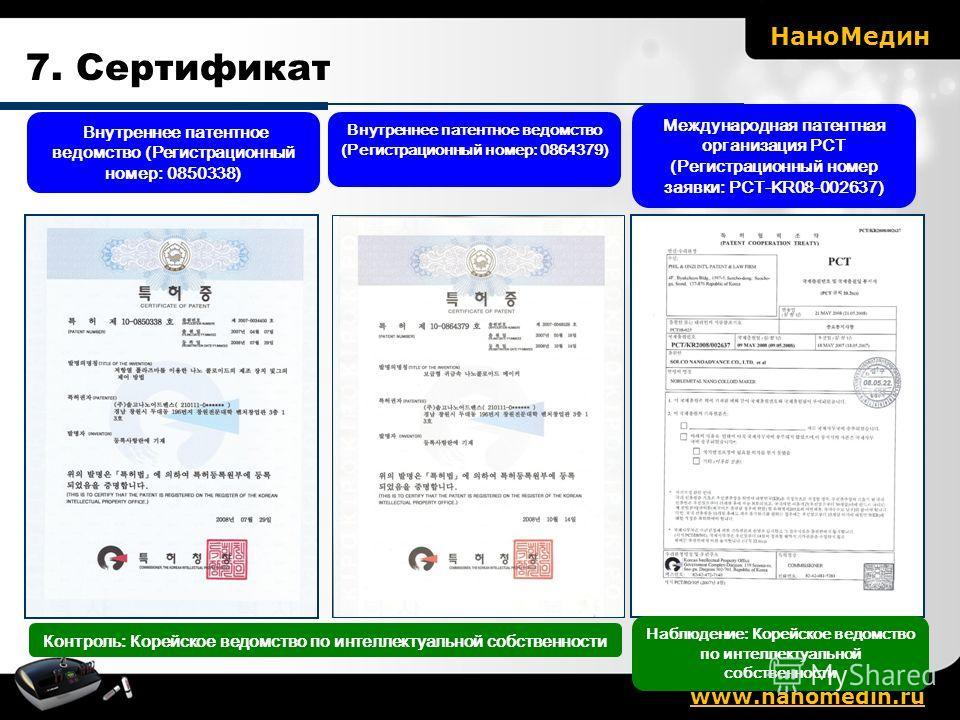 Контроль: Корейское ведомство по интеллектуальной собственности Внутреннее патентное ведомство (Регистрационный номер: 0850338) Внутреннее патентное ведомство (Регистрационный номер: 0864379) Международная патентная организация РСТ (Регистрационный н